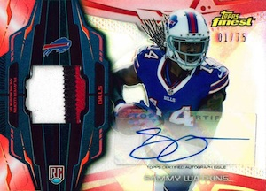 2014-Topps-Finest-Football-Rookie-Refractor-Autographed-Patch-Red-Sammy-Watkins