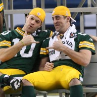 ORG XMIT: 1100527 Green Bay Packers quarterbacks Aaron Rodgers, right, and Matt Flynn pose for a photo during media day at Cowboys Stadium, Tuesday, February 1, 2011 in Arlington, Texas. The Packers will face the Pittsburgh Steelers in Super Bowl XLV. (Ron Jenkins/Fort Worth Star-Telegram/MCT)