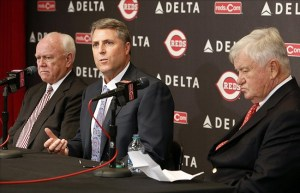 From left to right, Walt Jocketty, Bryan Price and Bob Castellini.
