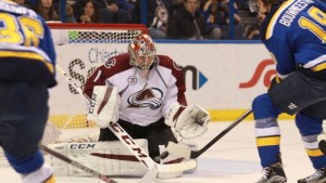 St. Louis Blues Jay Bouwmeester and Colorado Avalanche Semyon Varlamov