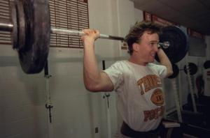 UNITED STATES - MARCH 06:Tennessee QB Peyton Manning (16) lifting weights during workout after announcing decision to stay senior year, Knoxville, TN 3/6/1997 (Photo by Bill Frakes/Sports Illustrated/Getty Images) (SetNumber: X52330)