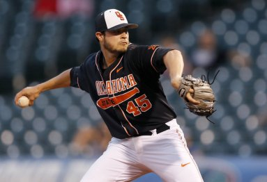 OSU's Thomas Hatch throws a pitch during Big 12 Baseball Championship tournament game between the Oklahoma State (OSU) and Texas Christian University at the Chickasaw Bricktown Ballpark in Oklahoma City, Thursday, May 26, 2016. Photo by Sarah Phipps, The Oklahoman