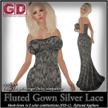 GD Fluted Gown Silver Lace