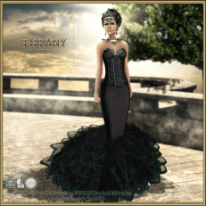 TD Lina Gown with Appliers -Black v