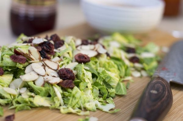 Shaved Brussel Sprout Salad With Cranberry Vinaigrette