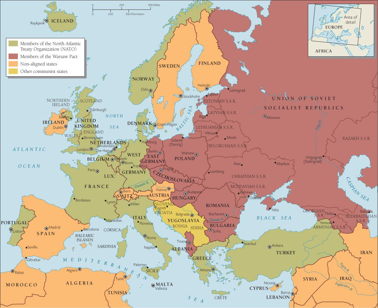 Early Cold War Europe Map