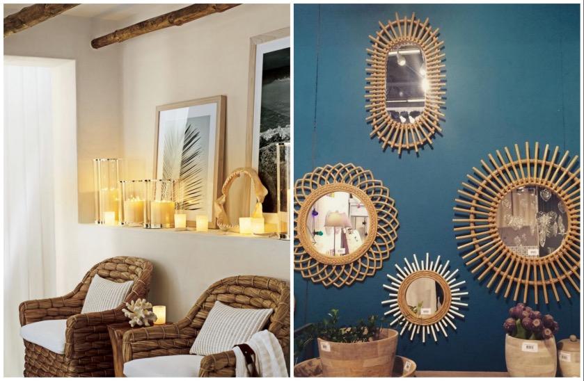 Fauteuil rotin et miroir assorti pour le salon clem atc blog deco - Miroir en rotin ...