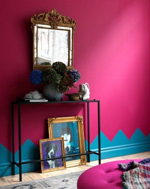 peintre mur de couleur flashy rose bonbon fuschia.
