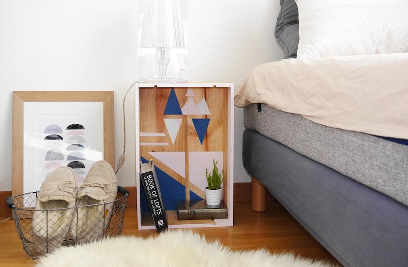 deco caisse a vin la table de nuit diy clem around. Black Bedroom Furniture Sets. Home Design Ideas