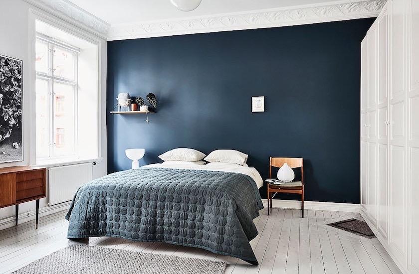 Mur Bleu Dans La Chambre Visite D Un Appartement
