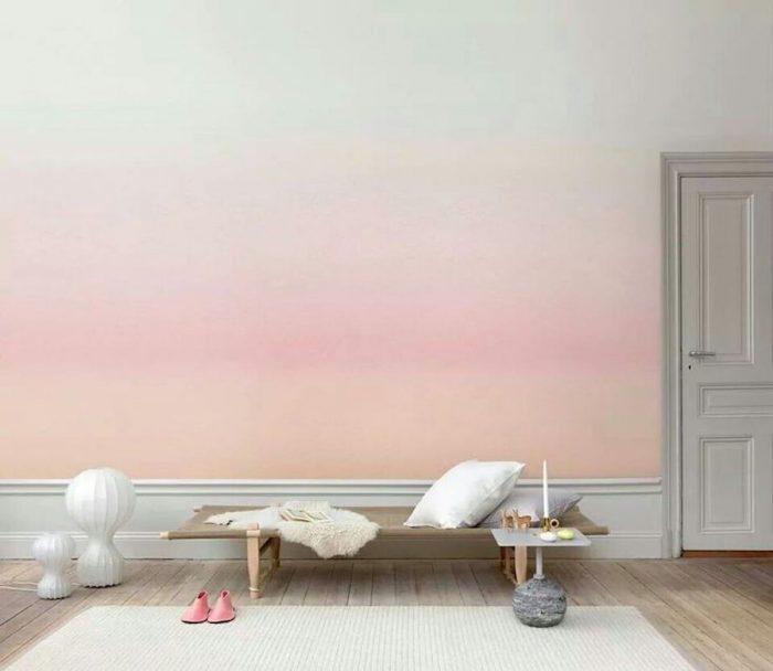 papier peint tie and dye rose orange coucher de soleil