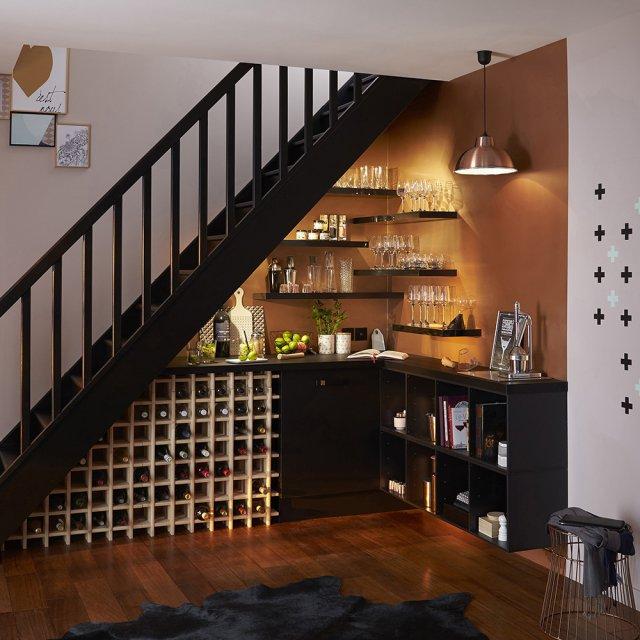coin bar barista installer sous l escalier diy aménager un dessous d'escalier