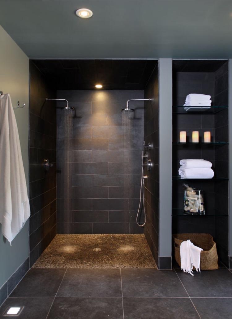 douche italienne salle de bain design moderne foncee