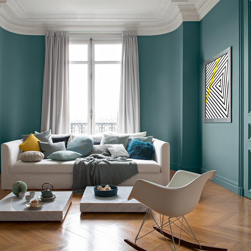 Salon Couleur Mur Vert Canard Eames Chaise Plastique Bascule Blanche
