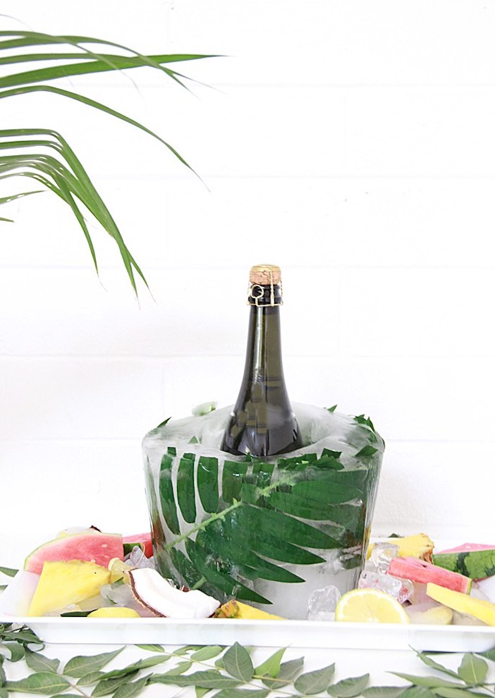 seau champagne diy tendance tropicale jungle fete clemaroundthecorner