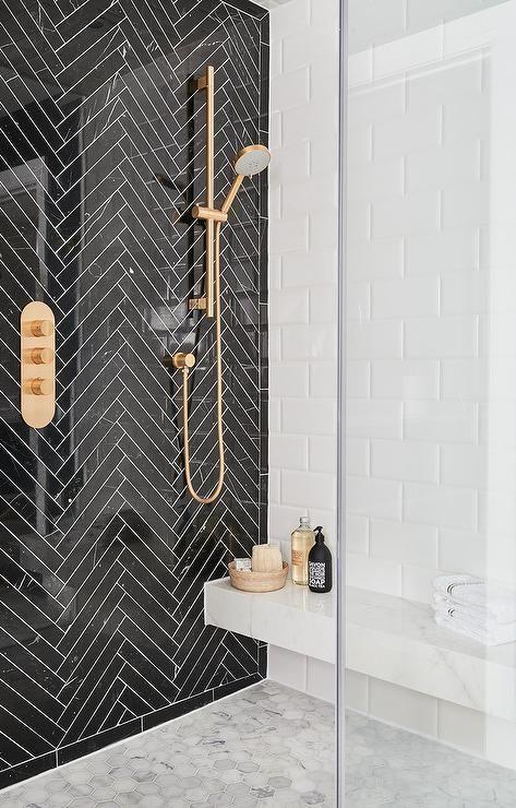 Douche à Lu0027italienne Salle De Bain Art Déco Noir Blanc Laiton Dorée
