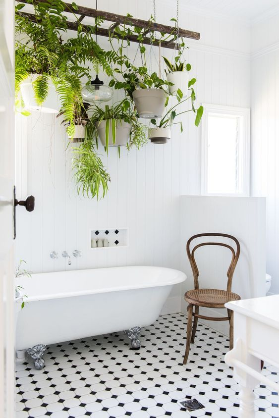salle de bain thème nature plantes suspendu échelle vintage blog déco clem around the corner