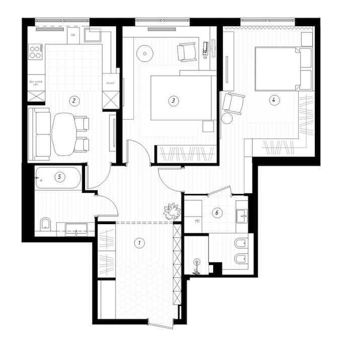 plan 80m2 3 pièces de Saint Pétersbourg - blog déco - Clem Around The Corner