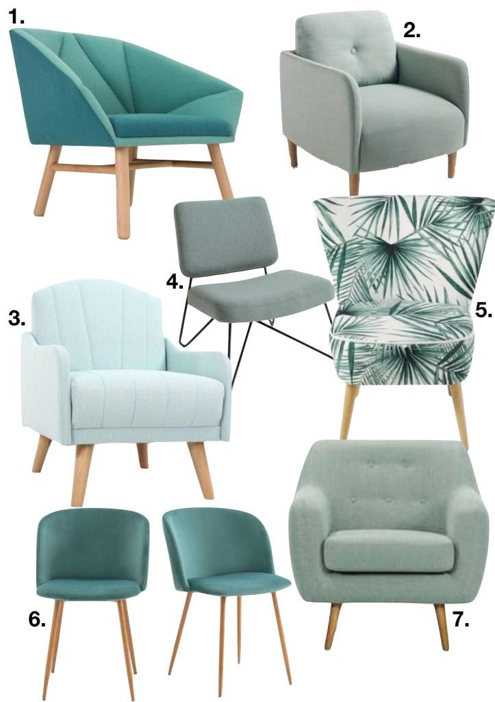 décoration vert célandon liste fauteuil salon - blog déco - clem around the corner