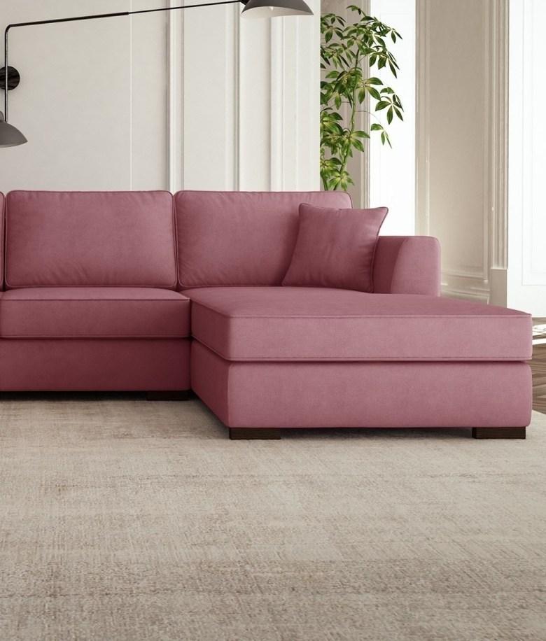 millennial pink canapé angle droit salon sobre - blog déco - clem around the corner
