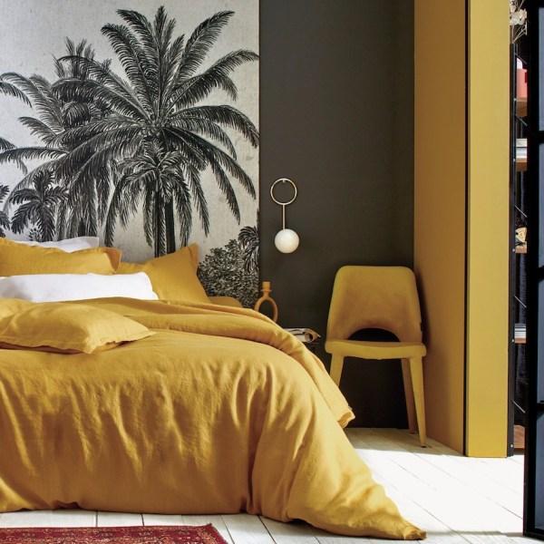 housse lit drap lin made in France jaune curry moutarde chambre ethnique grise chic verrière suite parentale