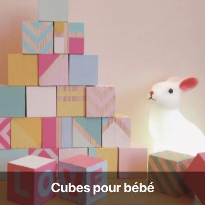 cubes bébé cadeau naissance à fabriquer jouet en bois