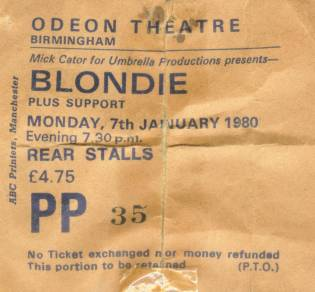 Blondie ticket 1980a