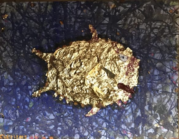 """Goldfish"" 20x30cm, 2020. Oil, Ocker, Gold on canvas. SOLD (as part of the fundraiser"