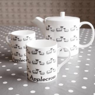 Highland Coo Fine Bone China Mugs Teapot Teaset by Clement Design