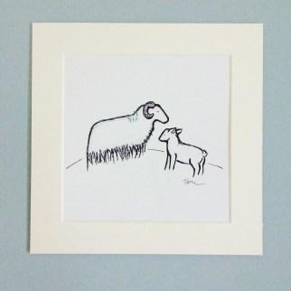sheep printed mounted