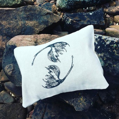 Hand-printed Cotton Grass Cushion by Clement Design