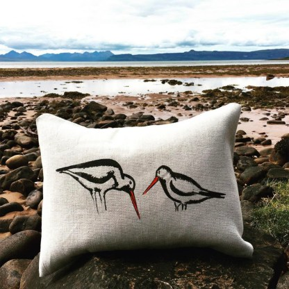 Hand-printed Oyster Catchers Cushion by Clement Design