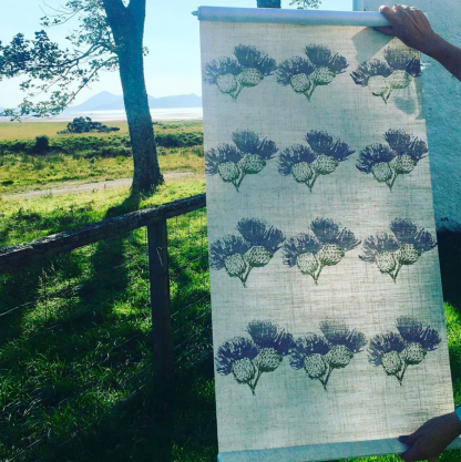 Hand-printed Thistle blinds by Clement Design