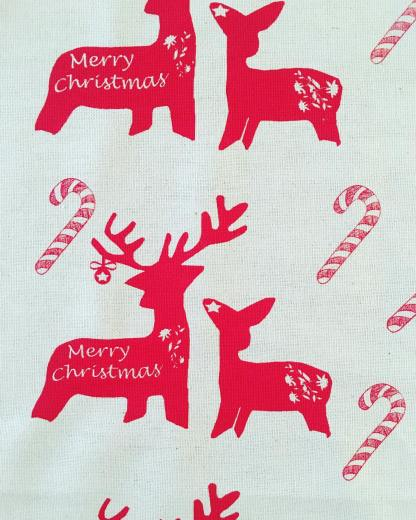 Christmas Deer & Candy Canes Teatowel by Clement Design