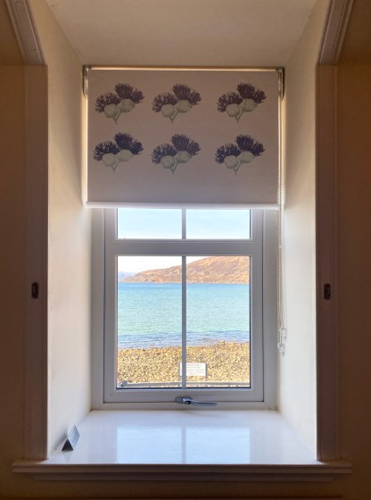Hand-printed Thistle Blinds at Applecross Inn by Clement Design