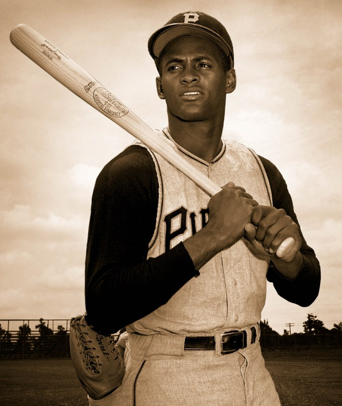 Roberto Clemente takes a moment from Spring Training to pose for a portrait.