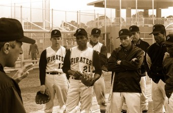 Clemente huddles up with the team during training.