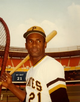 Polaroid photo of Roberto Clemente in Three Rivers Stadium.