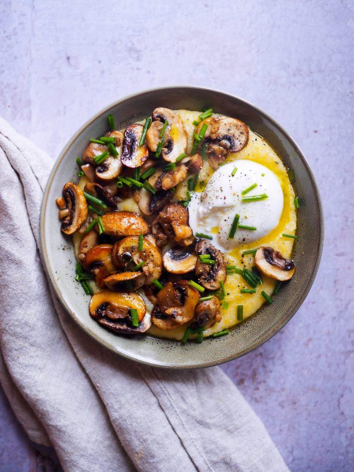 polenta champignons et burrata
