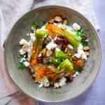 risotto aux fleurs de courgette, feta et noisettes