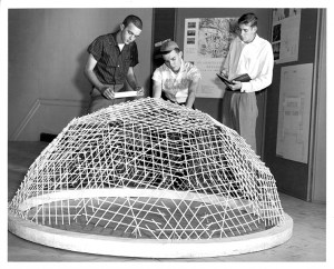 1963 Architecture students, including Jose Caban, now Professor Emeritus, studying structures