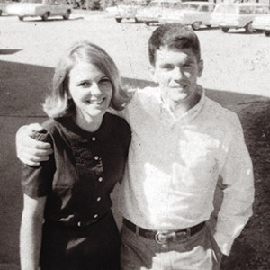 """Marcia and Jim on the Quad in the fall of 1968. According to Yarborough, """"Marcia became our fraternity sweetheart and is as beautiful and gracious now as she was then. When you were around them you always felt better — their warmth and affection for each other was palpable and genuine."""""""