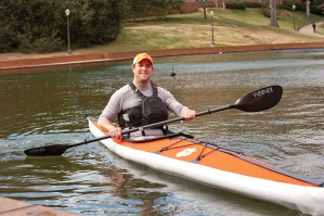 Eric Thome '00 is president and CEO of Folbot (Folbot.com). Eric had come back to campus to demonstrate his company's product — a folding kayak.