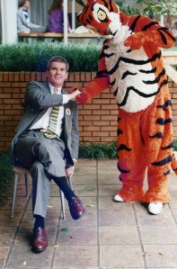 Dean Barker with the Tiger during Homecoming Weekend.