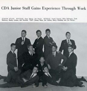Barker, back right, with other members of Central Dance Association staff in 1968.