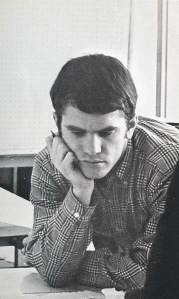 "Barker's photo in 1969 Taps, for ""Who's Who American College Students."""