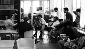 Barker (second from right) and other architecture students in the library.