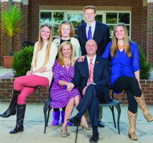 Clockwise, from left: Maggie, a freshman at WVU; Grace, a seventh grader; Tyler, a fourth-year student at WVU; Hannah, a freshman at Clemson; Jim; and Beth Clements