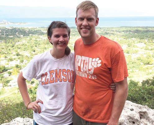Dominican Republic Lizanne Ferrell '10 and Andrew '11 Carlson show their Tiger spirit while hiking in Barahona.