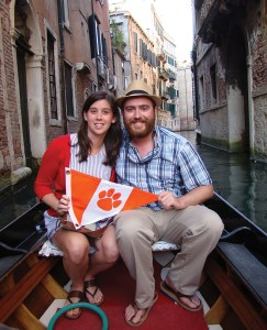 Italy Paige Gainey '15 and Austin Nettles '13 show their Tiger Spirit while relaxing on a gondola ride in Venice.